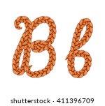 braids font. alphabet made from ... | Shutterstock .eps vector #411396709