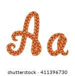 braids font. alphabet made from ... | Shutterstock .eps vector #411396730