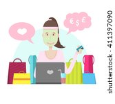the character of a young girl... | Shutterstock .eps vector #411397090