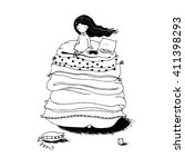 princess on the pea. blankets... | Shutterstock .eps vector #411398293