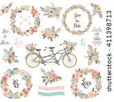 wedding floral invitation.flora ... | Shutterstock .eps vector #411398713
