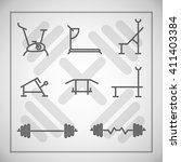 vector set of fitness icons in ...   Shutterstock .eps vector #411403384