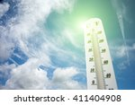 thermometer on the summer heat  | Shutterstock . vector #411404908