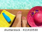summer holiday fashion selfie... | Shutterstock . vector #411410530