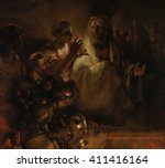 the denial of st. peter  by... | Shutterstock . vector #411416164