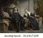 Abraham Casteleyn and his Wife, Margarieta van Bancken, by Jan de Bray, 1663, Dutch oil painting. Casteleyn was a printer and founded the newspaper Haerlemse Courant. The books and globe, allude to h