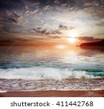 sky at sunset and sandy... | Shutterstock . vector #411442768