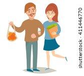 vegetarians people. vegetarian... | Shutterstock .eps vector #411446770