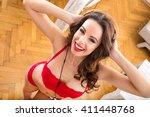 a beautiful young woman... | Shutterstock . vector #411448768