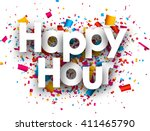 happy hour paper background... | Shutterstock .eps vector #411465790