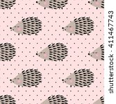 hedgehog seamless pattern on... | Shutterstock .eps vector #411467743