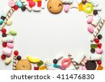 Colorful Candy Frame On White...