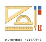 wooden ruler instruments and... | Shutterstock .eps vector #411477943