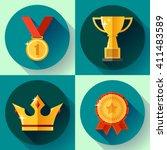 icon set golden symbols ...   Shutterstock .eps vector #411483589