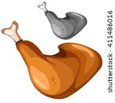 chicken leg. vector... | Shutterstock .eps vector #411486016