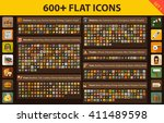 large set flat icons for web ... | Shutterstock .eps vector #411489598