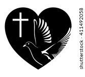 dove  cross and heart. symbol... | Shutterstock .eps vector #411492058