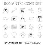romantic icons set. valentine's ... | Shutterstock .eps vector #411492100