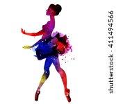 ballerina dancing. watercolor... | Shutterstock .eps vector #411494566
