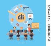 training staff briefing... | Shutterstock .eps vector #411494608