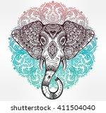 vintage mandala vector elephant ... | Shutterstock .eps vector #411504040