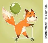 Smiling Cartoon Fox Riding A...