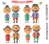 grandfather and grandmother.... | Shutterstock .eps vector #411504859