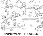 child and pet cartoon for... | Shutterstock .eps vector #411508633