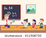 kindergarten teacher teaching... | Shutterstock .eps vector #411508720