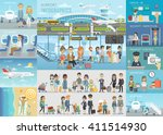 airport infographic set with... | Shutterstock .eps vector #411514930