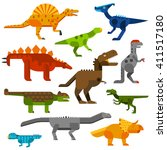 Set Of Dinosaurs Ground In...