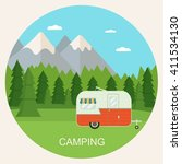 forest camping landscape with... | Shutterstock .eps vector #411534130
