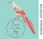 hand drawn vintage bird with... | Shutterstock .eps vector #411537139