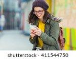 Portrait Smiling Young Hipster Woman - Fine Art prints