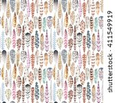 watercolor feathers seamless... | Shutterstock . vector #411549919