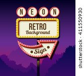 neon retro roadside sign with... | Shutterstock .eps vector #411550930