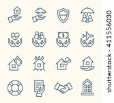 insurance line icons | Shutterstock .eps vector #411556030