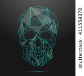 low poly skull. thin line ... | Shutterstock .eps vector #411558370