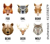 low polygon animal logos.... | Shutterstock .eps vector #411558379