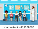 patients in doctors waiting... | Shutterstock .eps vector #411558838
