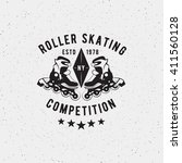 roller skating badge  seal ... | Shutterstock .eps vector #411560128