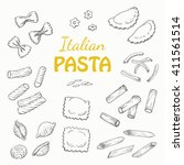 set italian pasta on a white... | Shutterstock .eps vector #411561514