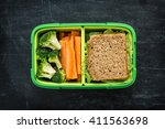green school lunch box with... | Shutterstock . vector #411563698