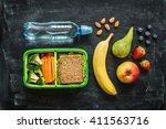 school lunch box with sandwich  ... | Shutterstock . vector #411563716