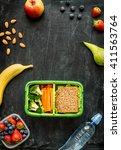 school lunch box with sandwich  ... | Shutterstock . vector #411563764