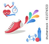 vector fitness icons in flat... | Shutterstock .eps vector #411576523