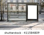 blank white mockup of bus stop... | Shutterstock . vector #411584809