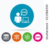 wifi  sms and calendar icons.... | Shutterstock . vector #411586534
