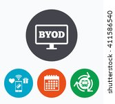 byod sign icon. bring your own... | Shutterstock . vector #411586540