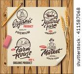 set of vintage hand drawn farm... | Shutterstock .eps vector #411587068